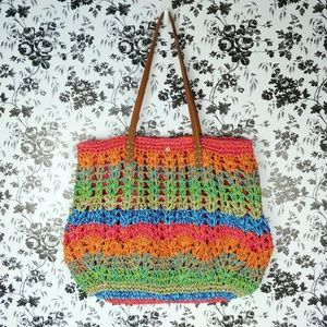 Cappelli rainbow stripe zippered straw tote bag